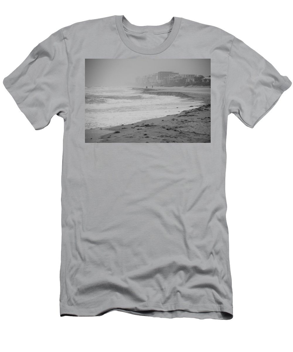 Black And White Men's T-Shirt (Athletic Fit) featuring the photograph The Eroded Coast by Rob Hans