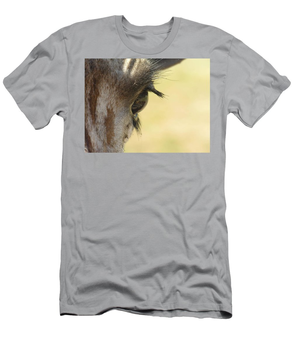 Giraffe Men's T-Shirt (Athletic Fit) featuring the photograph The Eyes Have It by Diane Greco-Lesser