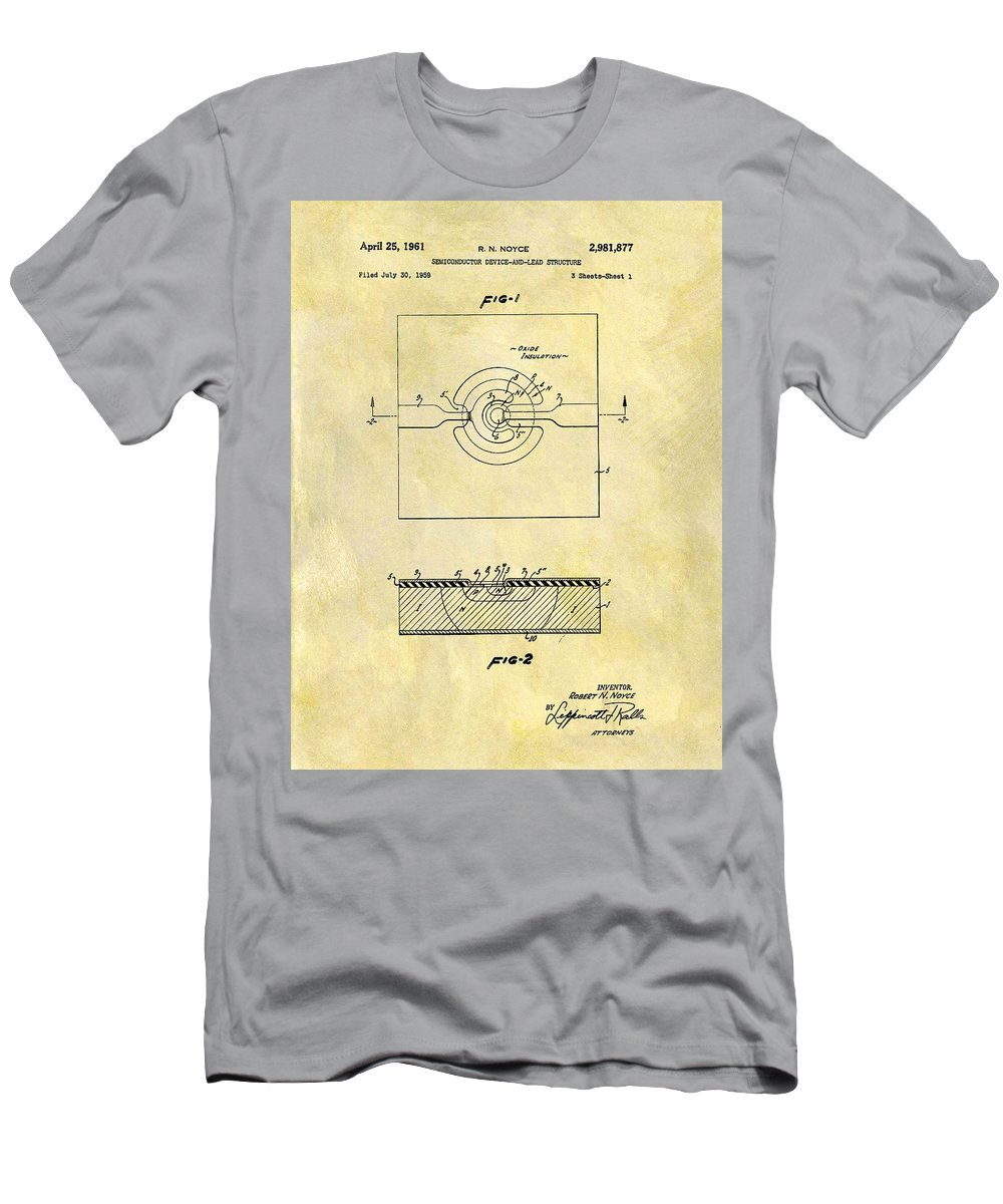 The First Computer Chip Patent Men's T-Shirt (Athletic Fit) featuring the drawing The First Computer Chip Patent by Dan Sproul