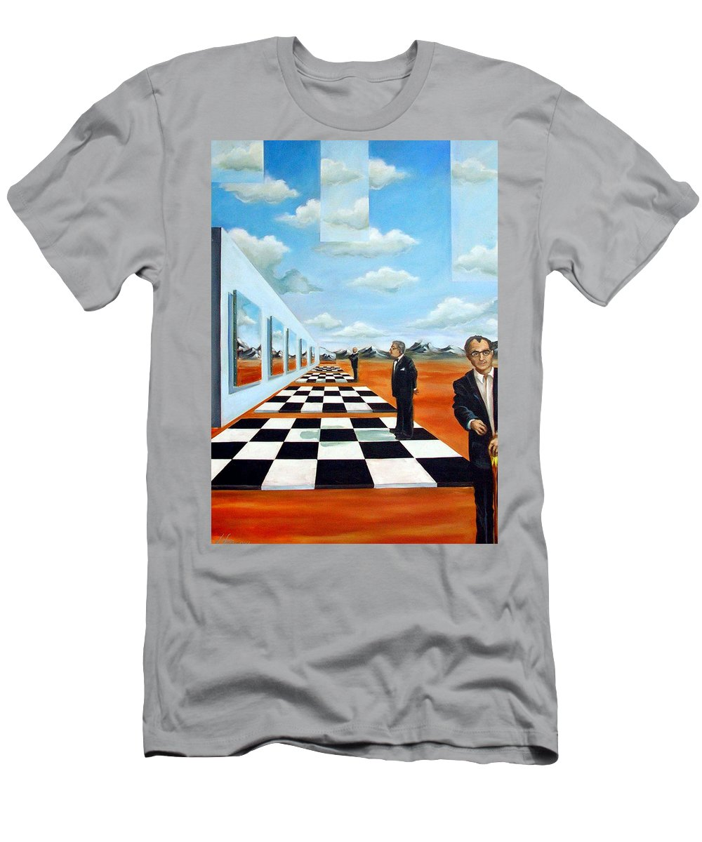 Surreal T-Shirt featuring the painting The Gallery by Valerie Vescovi