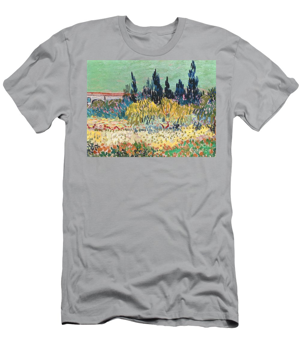 Garden In Bloom Men's T-Shirt (Athletic Fit) featuring the painting The Garden At Arles by Vincent Van Gogh