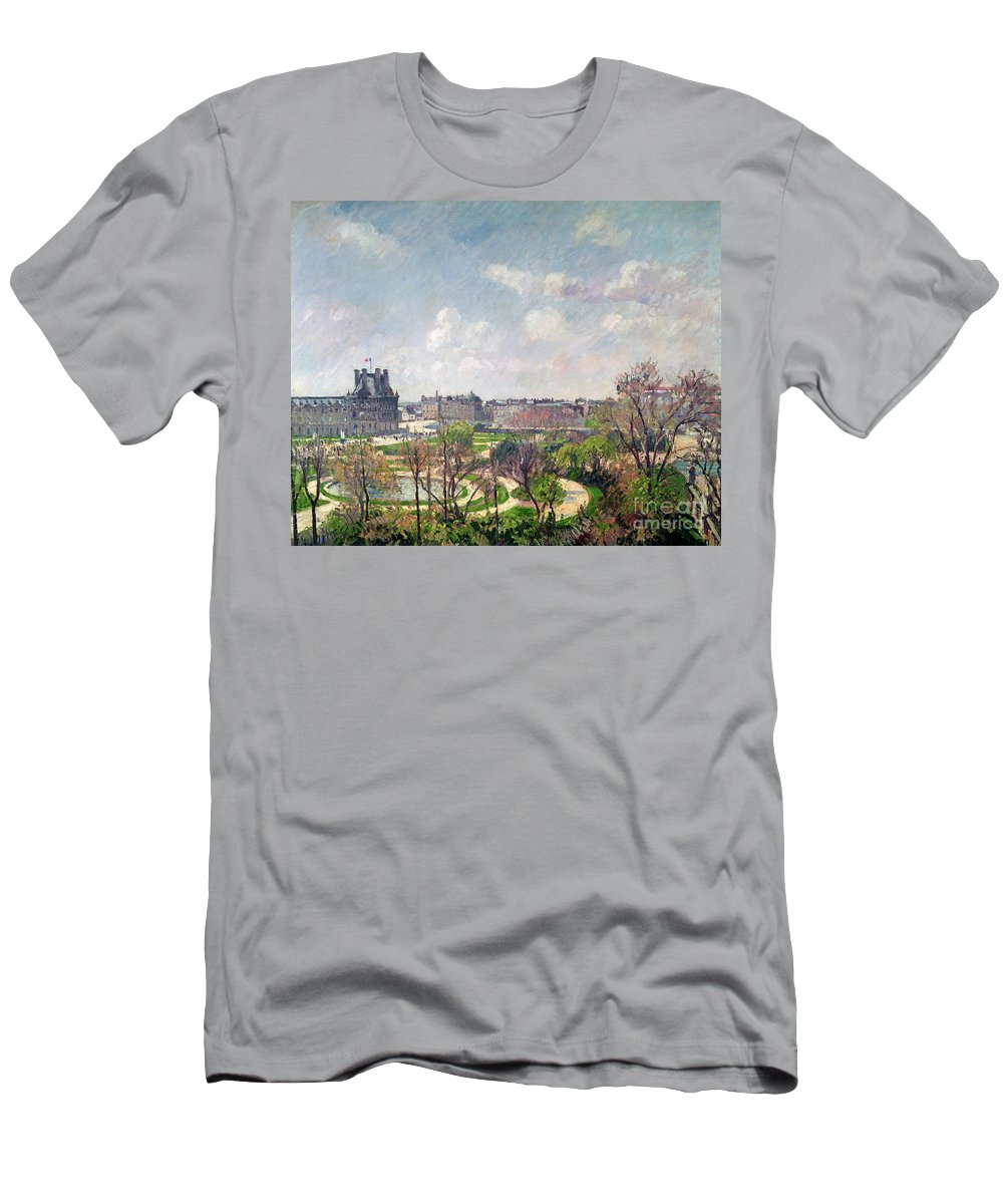 The Men's T-Shirt (Athletic Fit) featuring the painting The Garden Of The Tuileries by Camille Pissarro