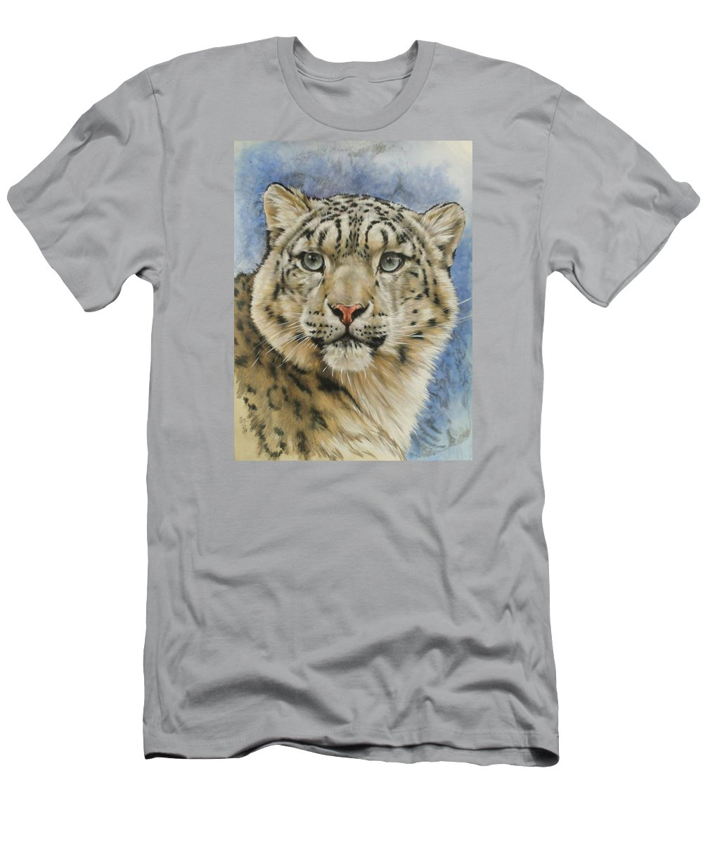 Snow Loepard Men's T-Shirt (Athletic Fit) featuring the mixed media The Gaze by Barbara Keith