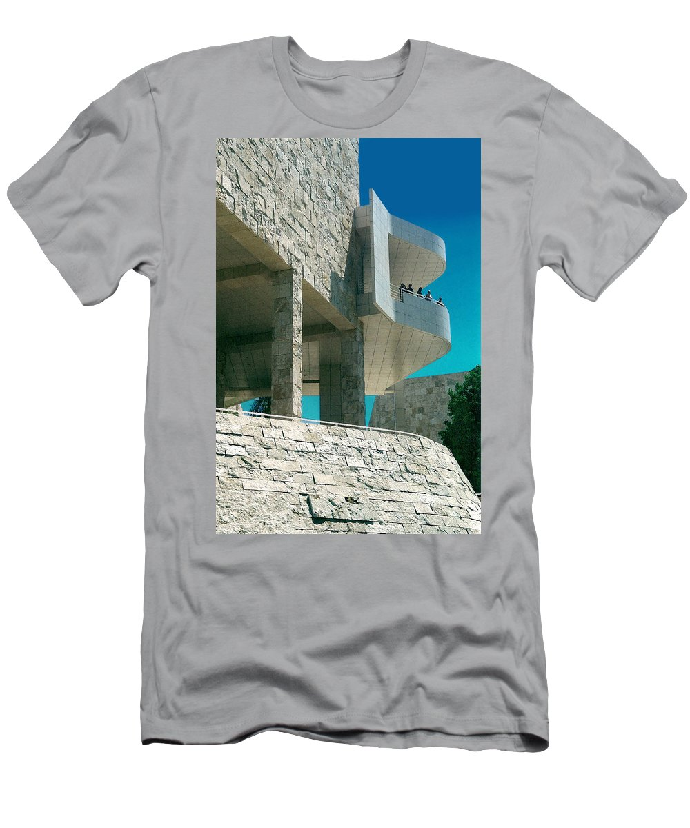 Architecture Men's T-Shirt (Athletic Fit) featuring the photograph The Getty Panel Three From Triptych by Steve Karol