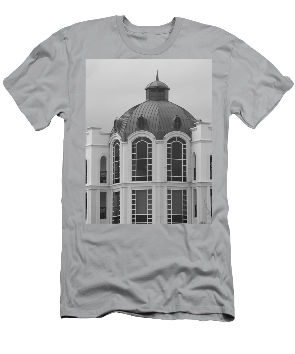Black And White Men's T-Shirt (Athletic Fit) featuring the photograph The Glass And Brass Tower by Rob Hans