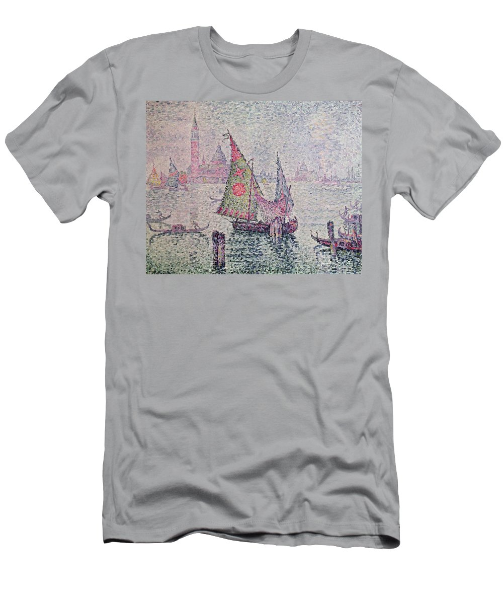 The Green Sail Men's T-Shirt (Athletic Fit) featuring the painting The Green Sail by Paul Signac