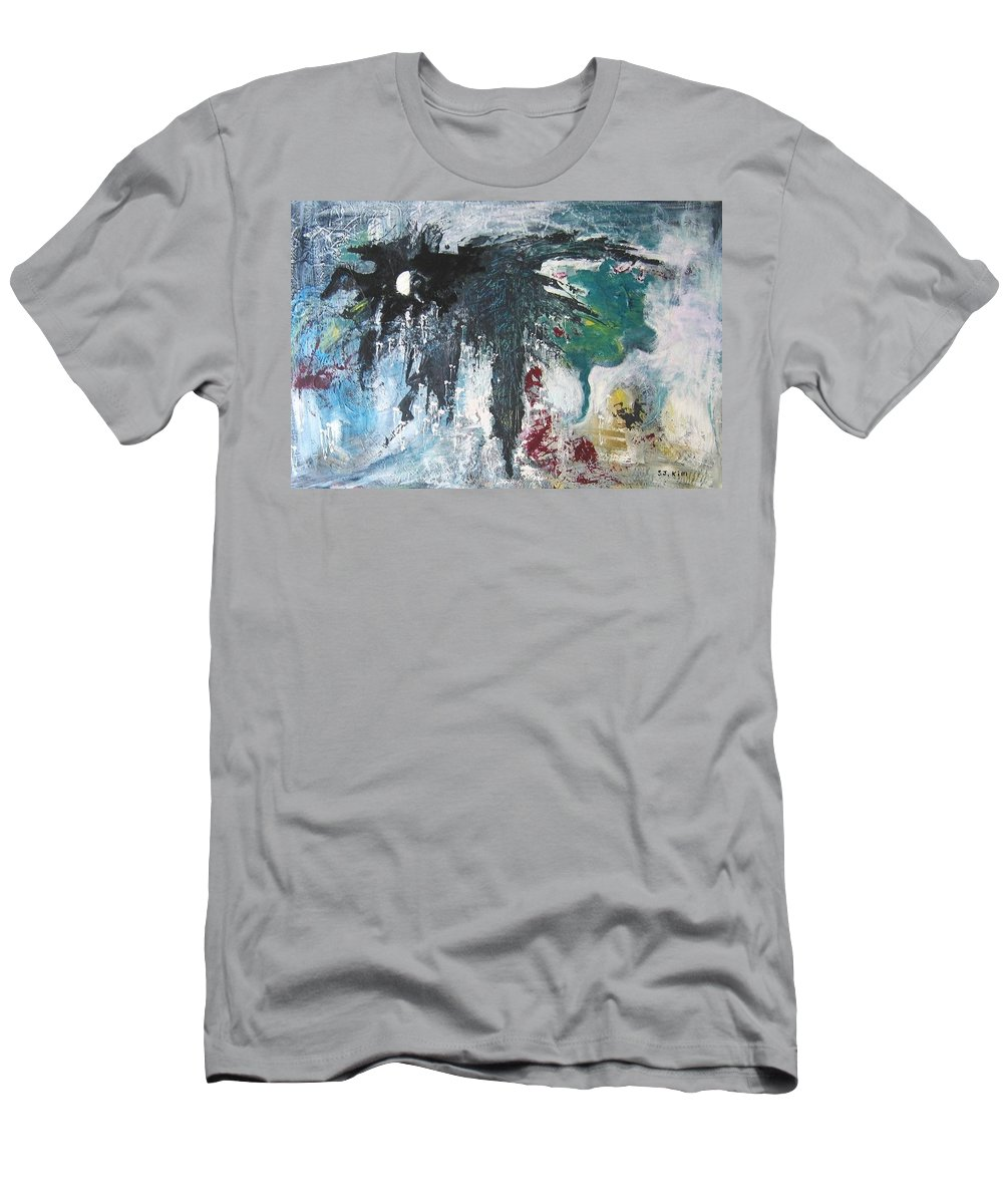 Abstract Paintings Men's T-Shirt (Athletic Fit) featuring the painting The Half Moon by Seon-Jeong Kim