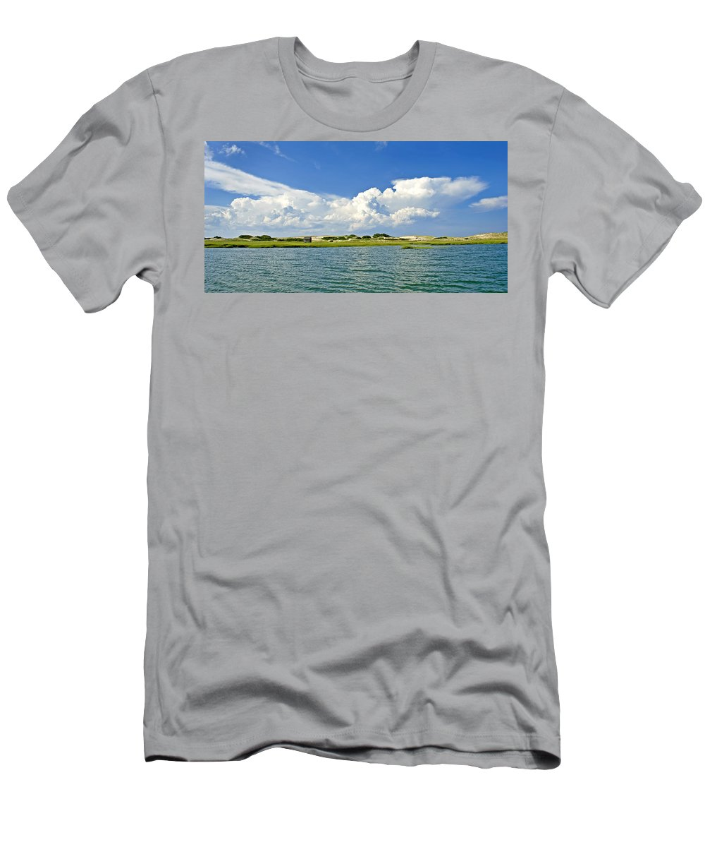 Sandy Neck Men's T-Shirt (Athletic Fit) featuring the photograph The Handys Camp On Sandy Neck by Charles Harden