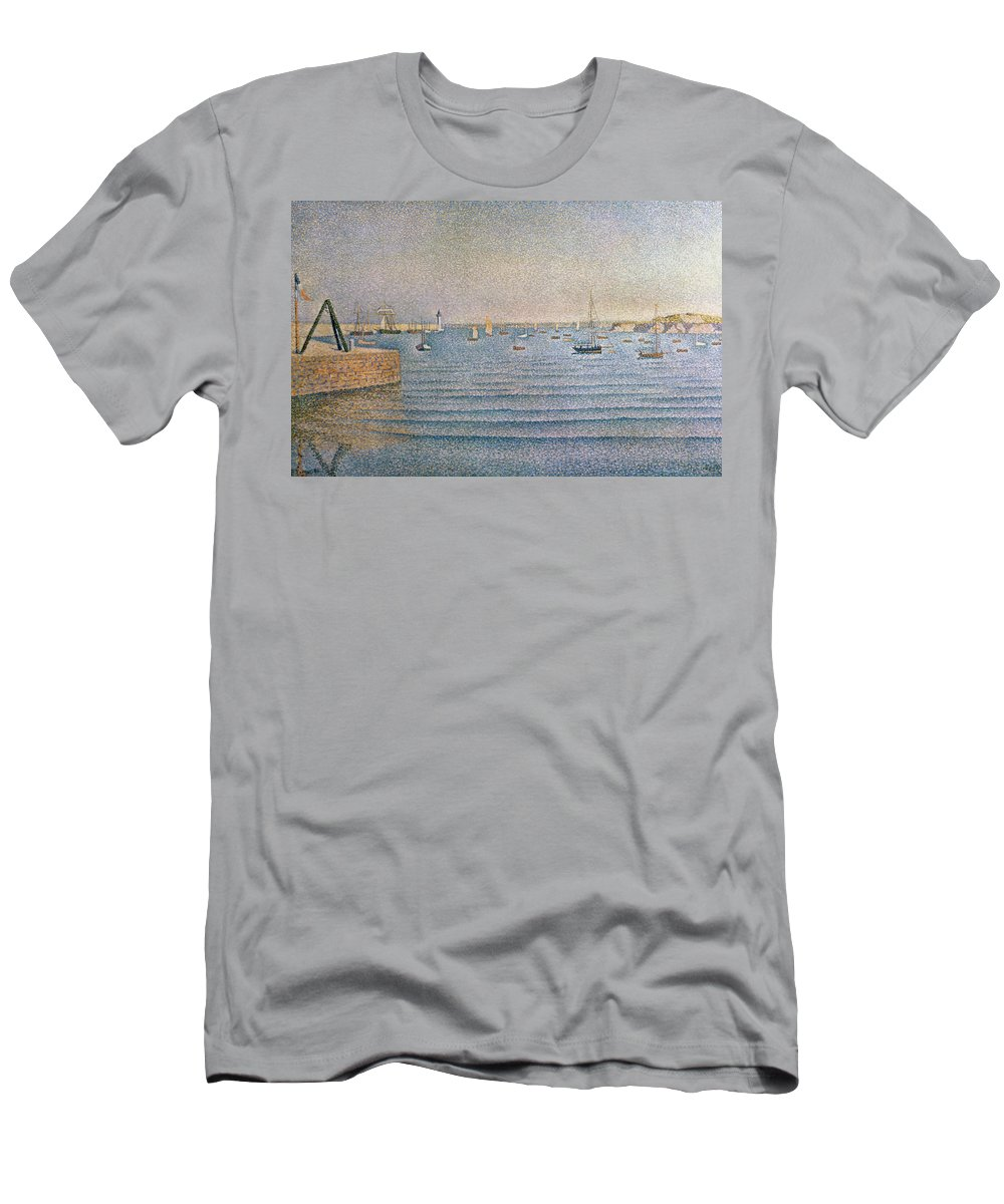 The Harbour At Portrieux Men's T-Shirt (Athletic Fit) featuring the painting The Harbour At Portrieux by Paul Signac