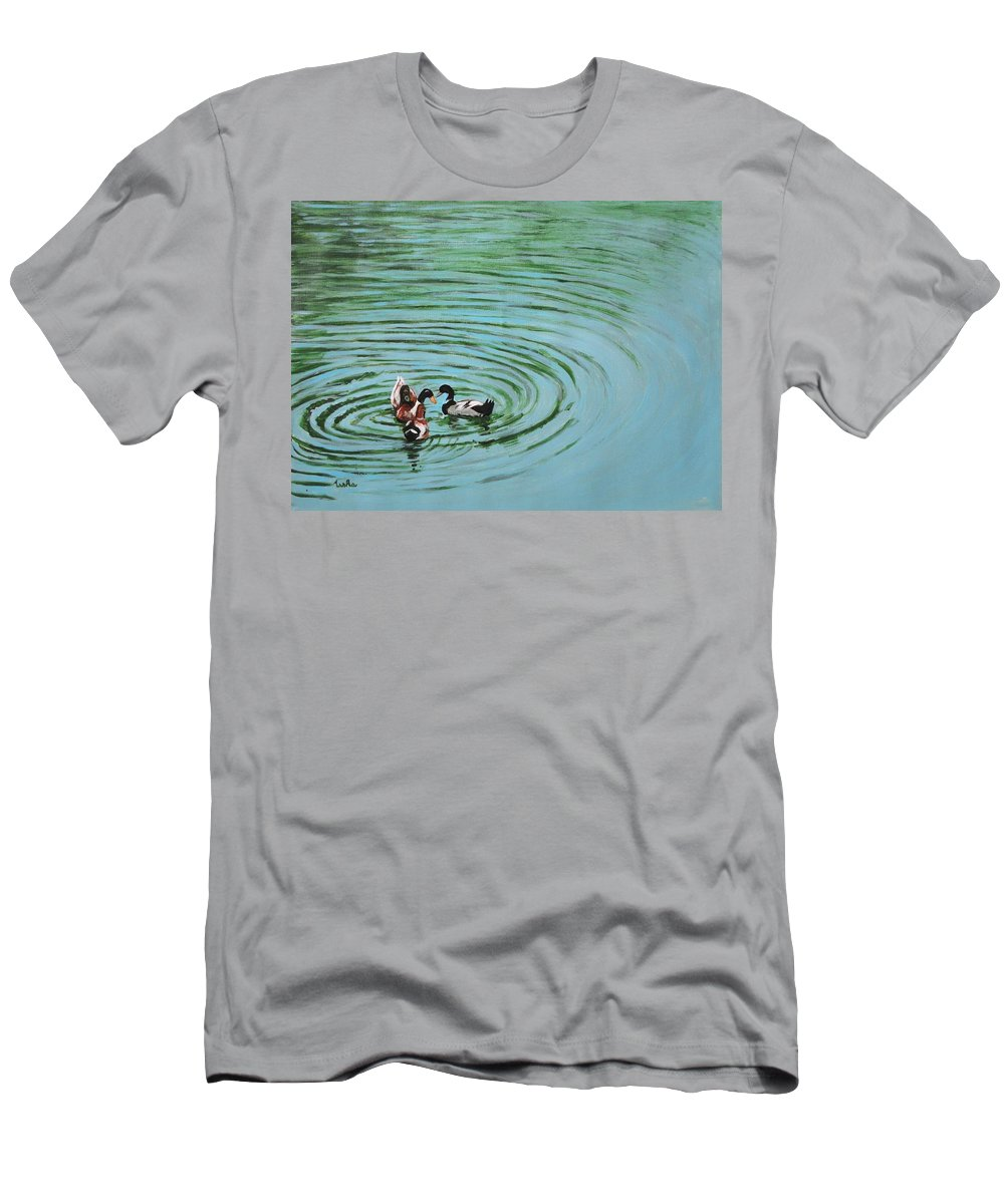 Duck Men's T-Shirt (Athletic Fit) featuring the painting The Herd Series - Duck Meet by Usha Shantharam