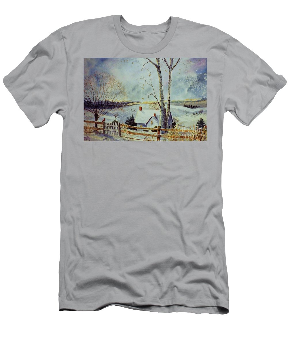 Winter Scene Men's T-Shirt (Athletic Fit) featuring the painting The Homestead by Marilyn Smith