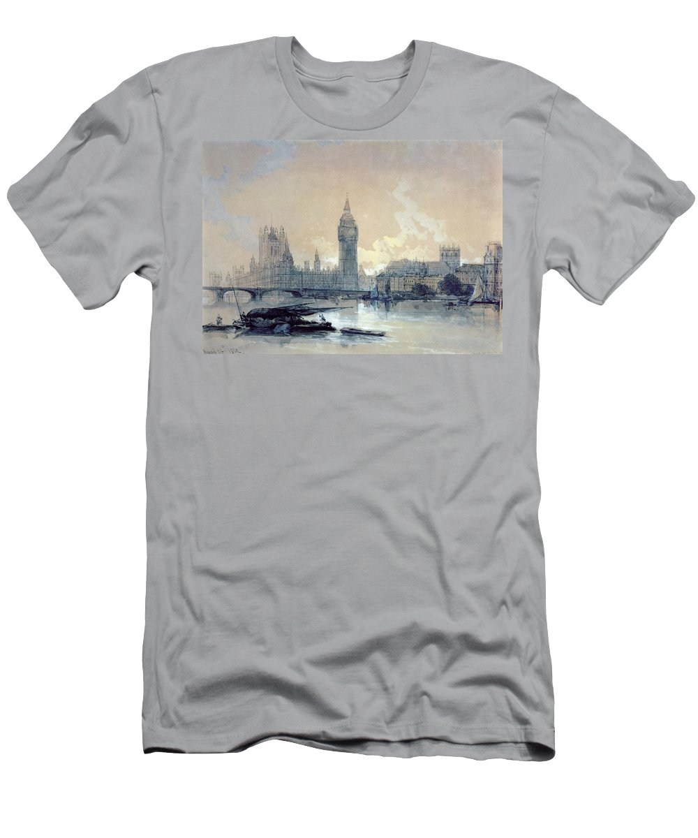 The Men's T-Shirt (Athletic Fit) featuring the painting The Houses Of Parliament by David Roberts