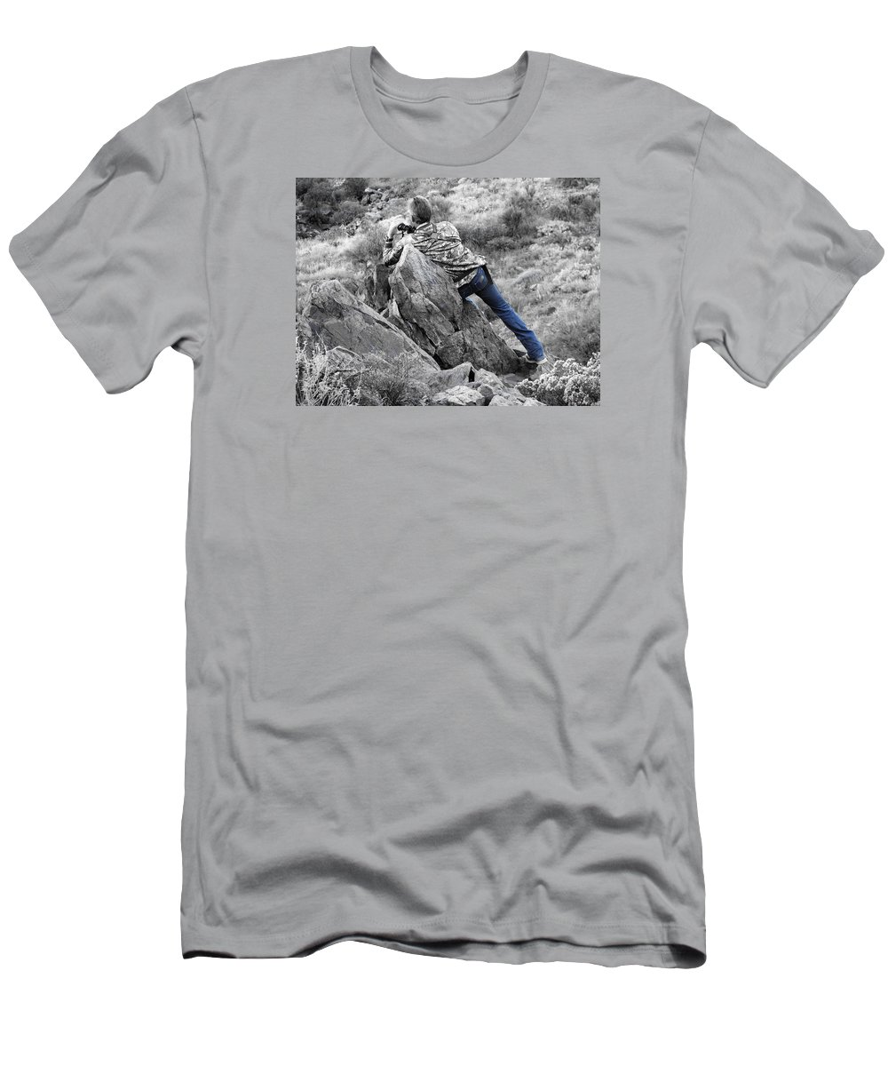Deer Men's T-Shirt (Athletic Fit) featuring the photograph The Hunt by Rachel Knight