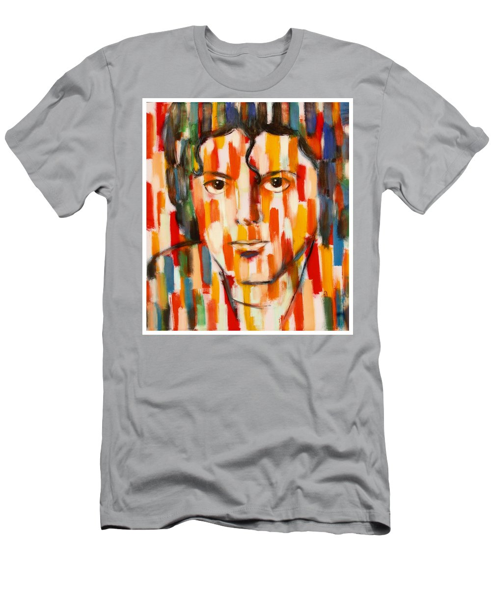 Michael Jackson Men's T-Shirt (Athletic Fit) featuring the painting the king of pop Michael Jackson by Habib Ayat