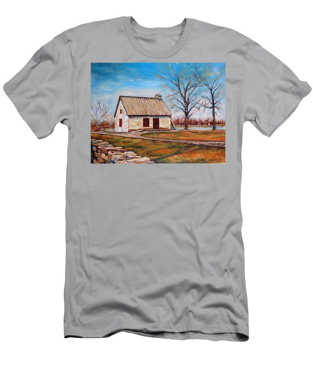 Ile Perrot Men's T-Shirt (Athletic Fit) featuring the painting The Lake House by Carole Spandau