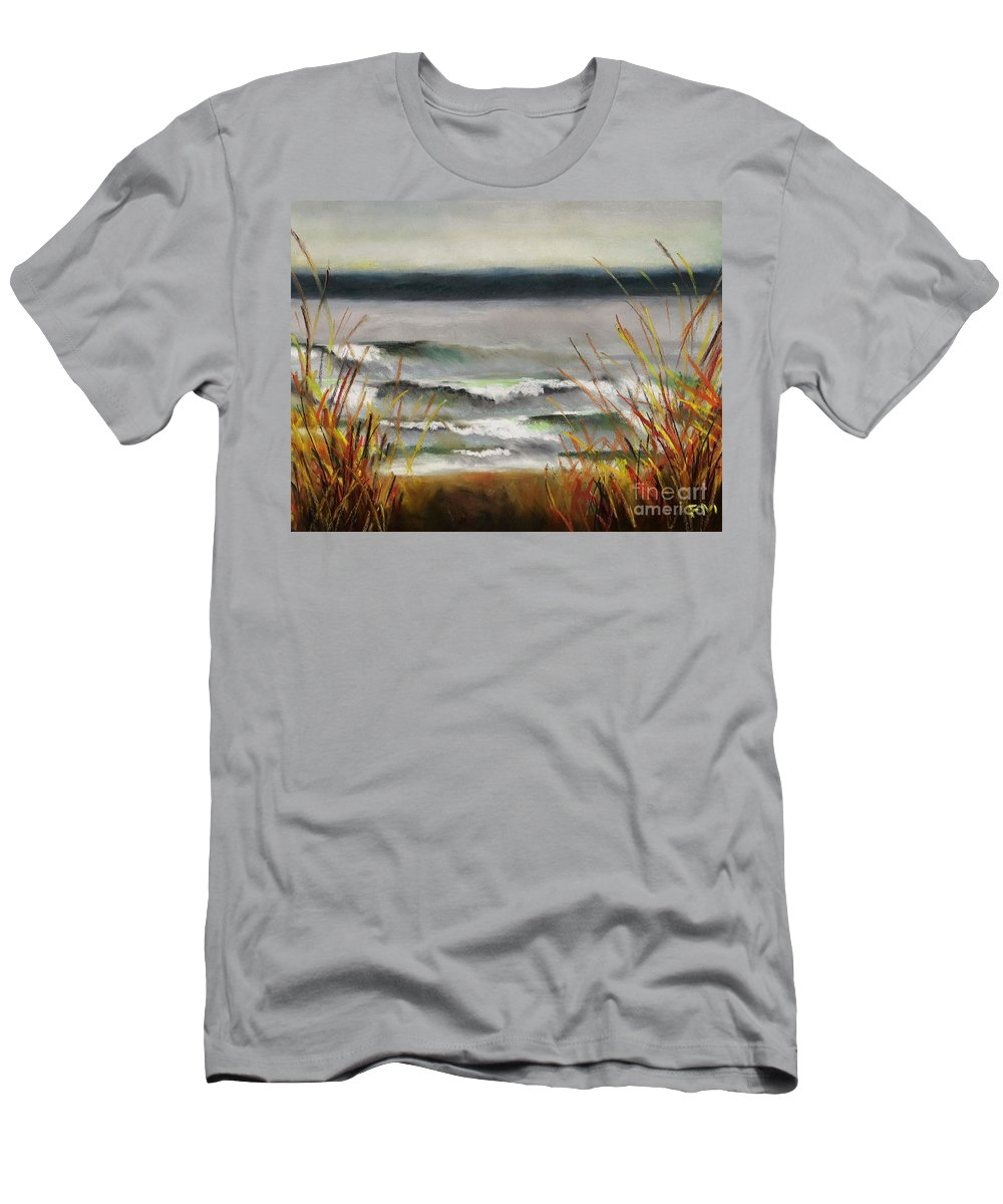 Lakes Men's T-Shirt (Athletic Fit) featuring the painting The Lake Shore by Frances Marino