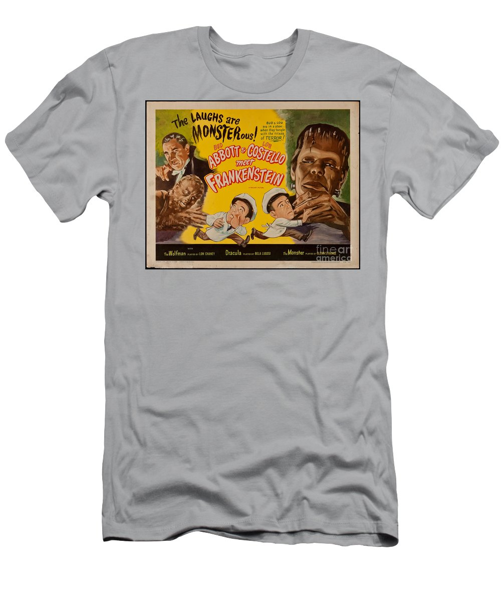 The Laughs Are Monsterous Men's T-Shirt (Athletic Fit) featuring the digital art The Laughs Are Monsterous Abott An Costello Meet Frankenstein Classic Movie Poster by R Muirhead Art