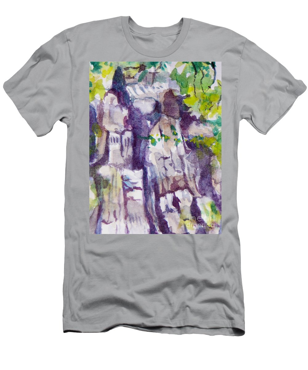 Purple Men's T-Shirt (Athletic Fit) featuring the painting The Little Climbing Wall by Jan Bennicoff
