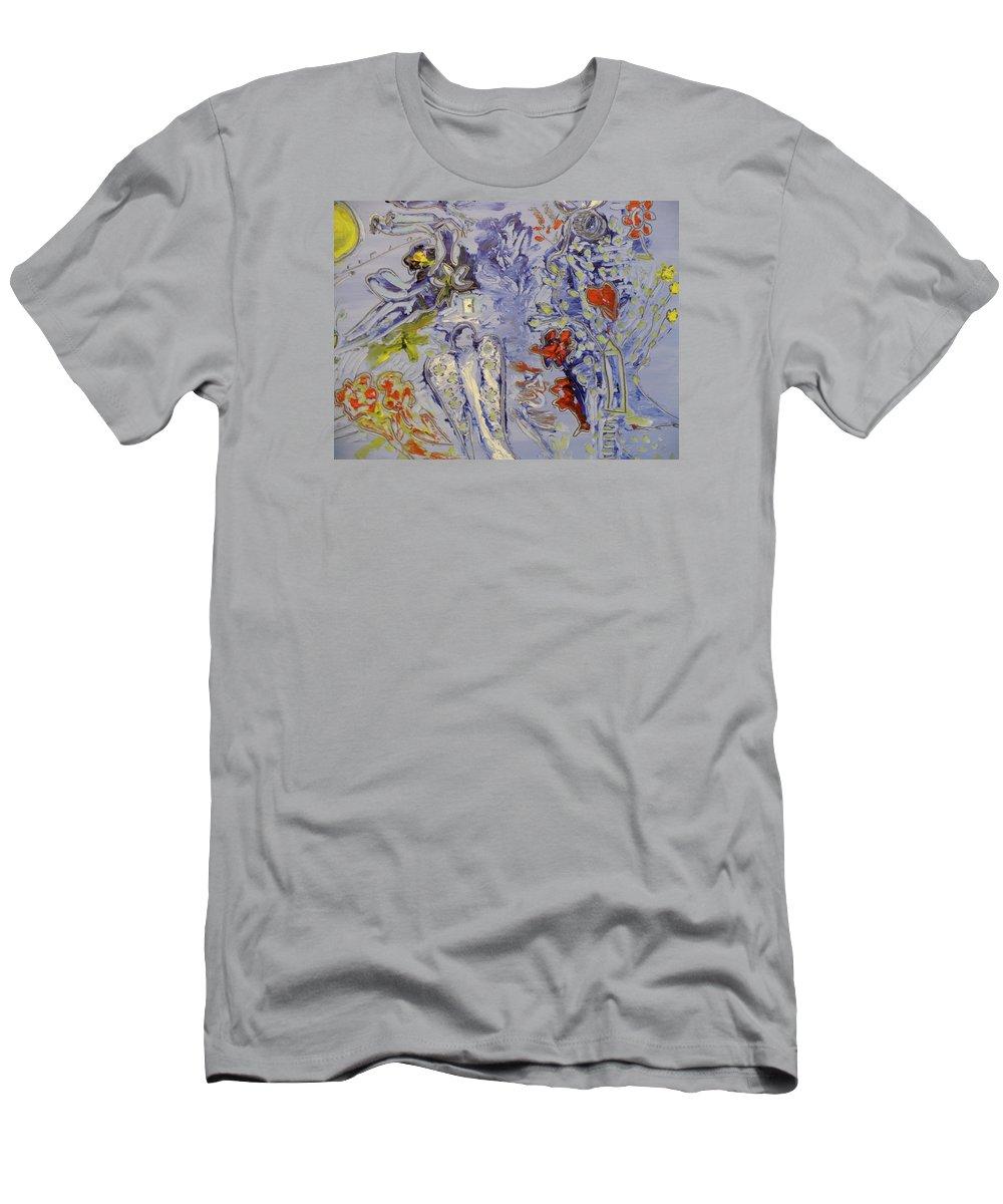 Une Jolie Mariée Men's T-Shirt (Athletic Fit) featuring the painting The Lovers In Blue by Coco de la garrigue