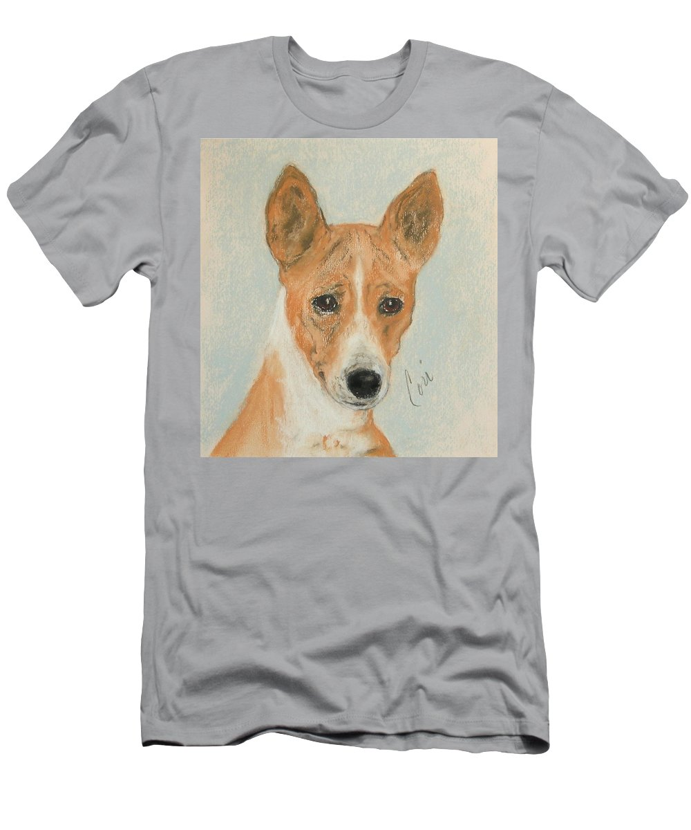 Basenji Men's T-Shirt (Athletic Fit) featuring the drawing The Mighty Hunter by Cori Solomon
