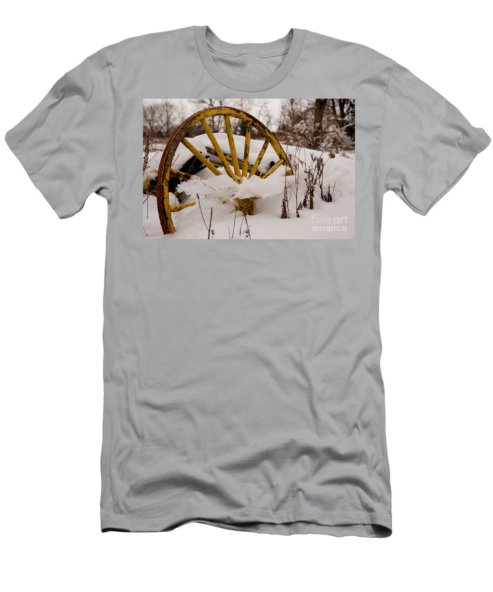 Wheel Men's T-Shirt (Athletic Fit) featuring the photograph The Missing Wheel by Scott Hafer