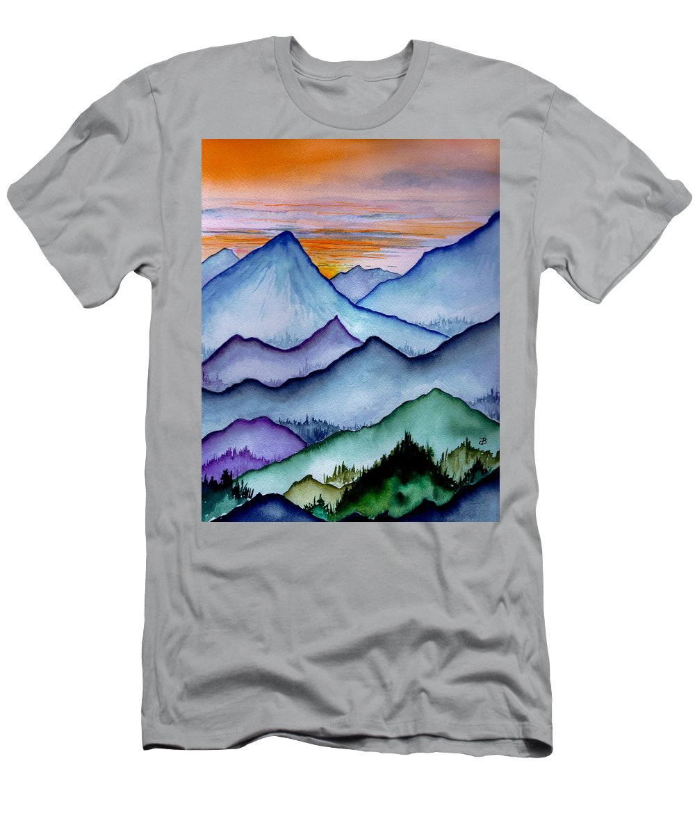 Landscape Men's T-Shirt (Athletic Fit) featuring the painting The Misty Mountains by Brenda Owen