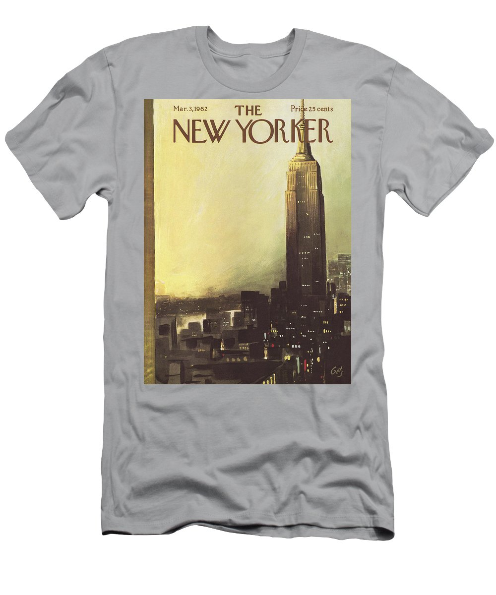 Arthur T-Shirt featuring the painting The New Yorker Cover - March 3rd, 1962 by Arthur Getz