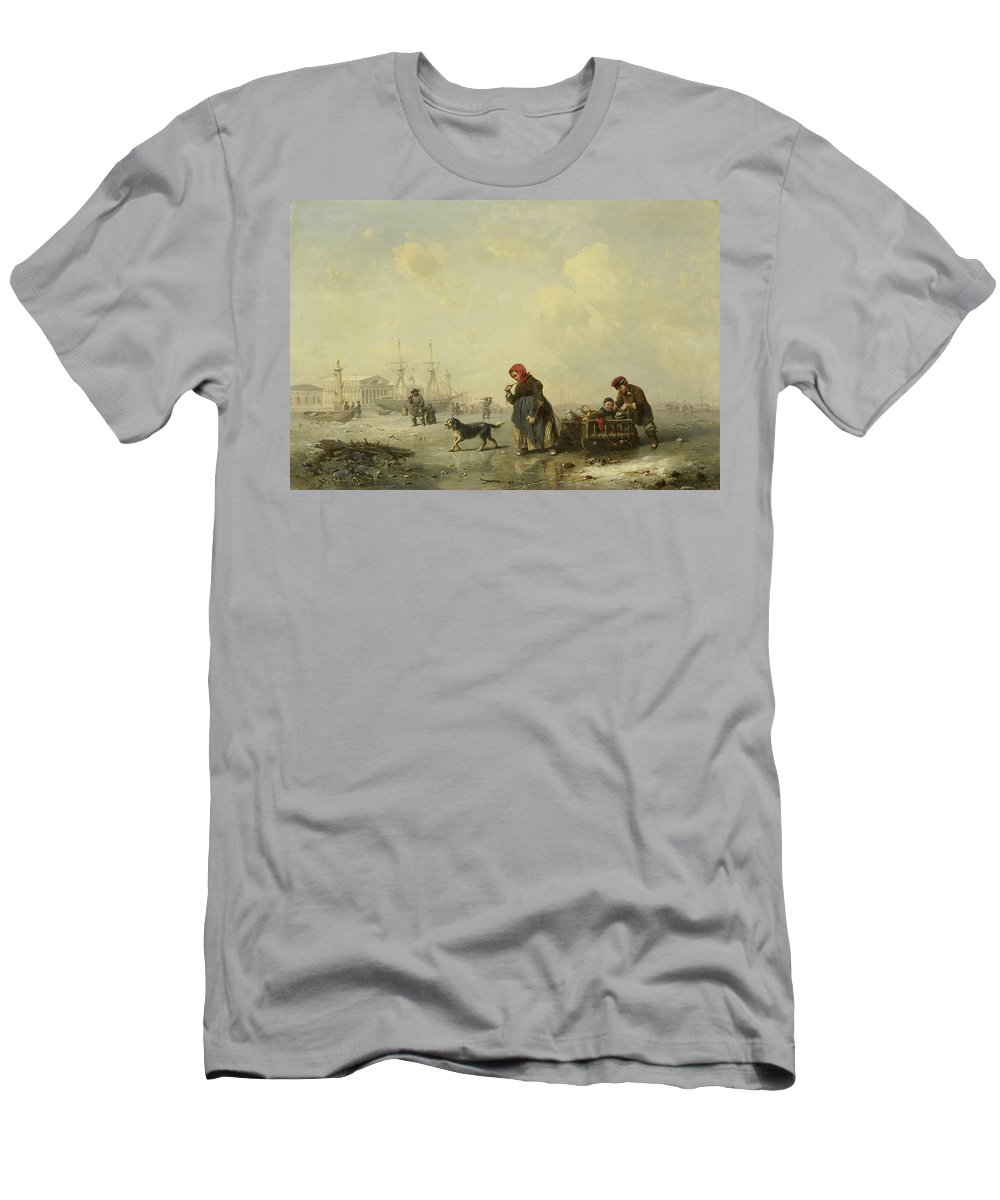 German Art Men's T-Shirt (Athletic Fit) featuring the painting The Newa At Saint Petersburg In Winter by Theodor Hildebrandt