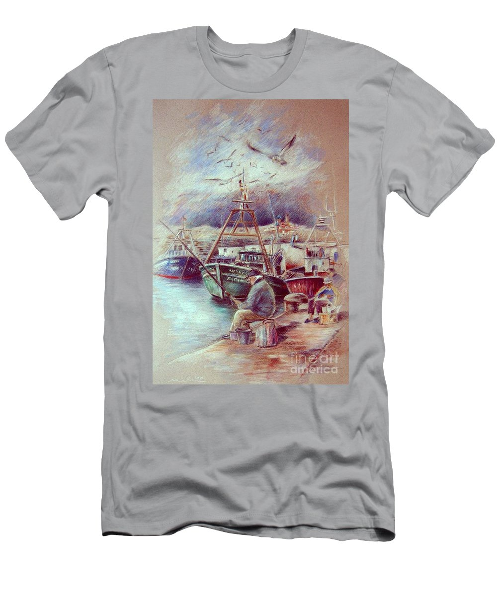 Spain Painting Men's T-Shirt (Athletic Fit) featuring the painting The Old Man And The Sea 02 by Miki De Goodaboom