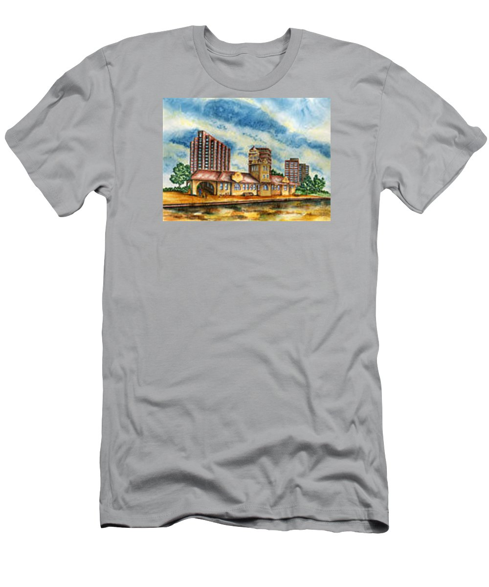 Cityscape Men's T-Shirt (Athletic Fit) featuring the painting The Old Train Station  by Ragon Steele