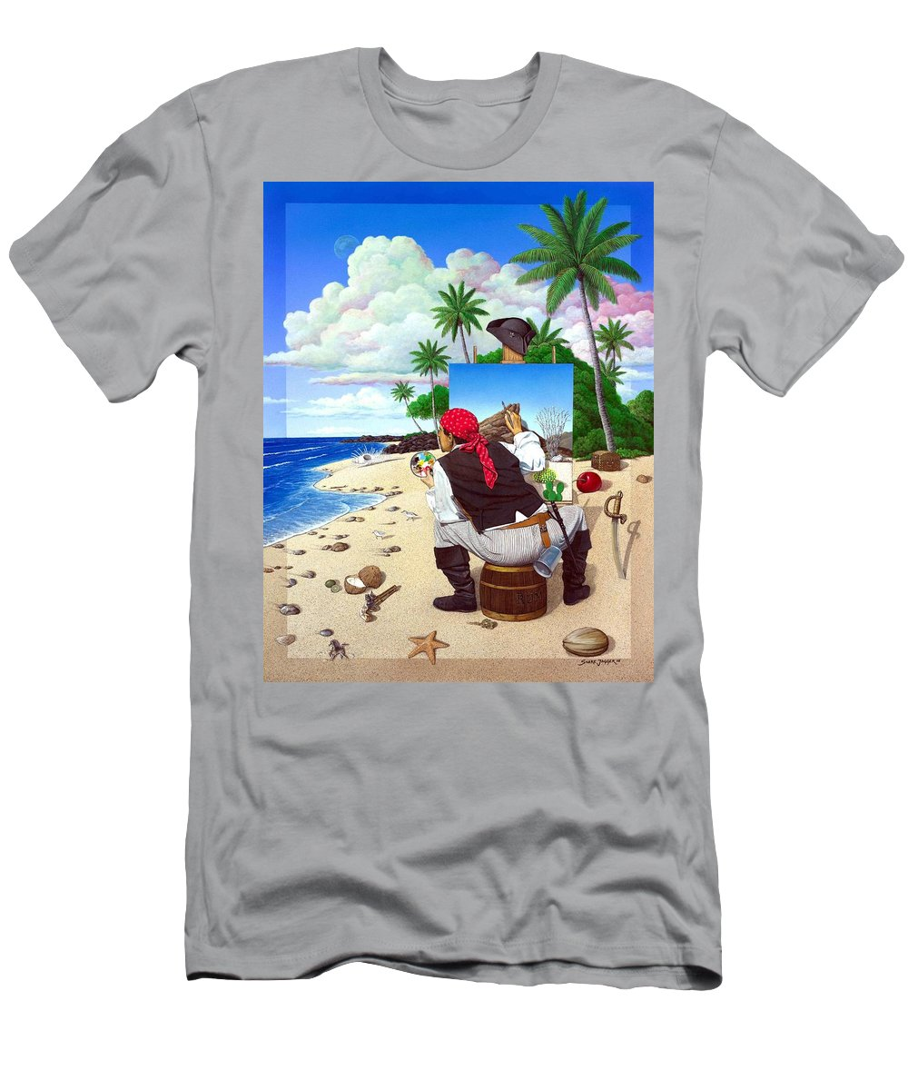 Pirate Men's T-Shirt (Athletic Fit) featuring the painting The Painting Pirate by Snake Jagger
