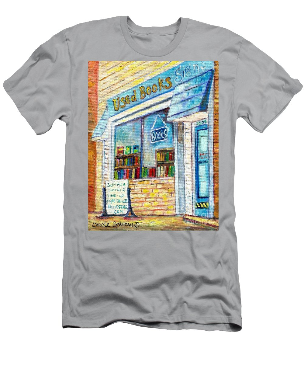 Book Store T-Shirt featuring the painting The Paperbacks Plus Book Store St Paul Minnesota by Carole Spandau