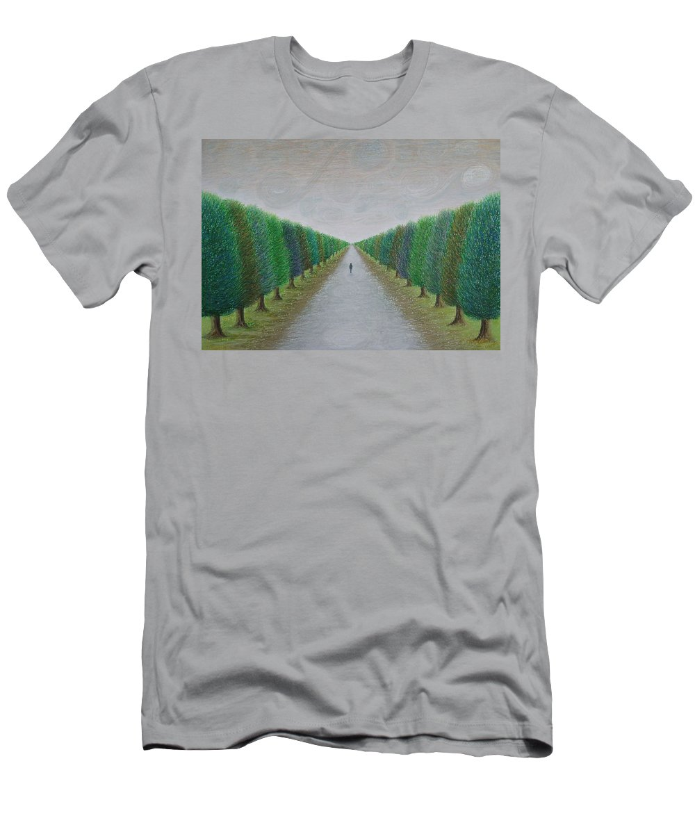 Path Men's T-Shirt (Athletic Fit) featuring the painting The Path by Lynet McDonald