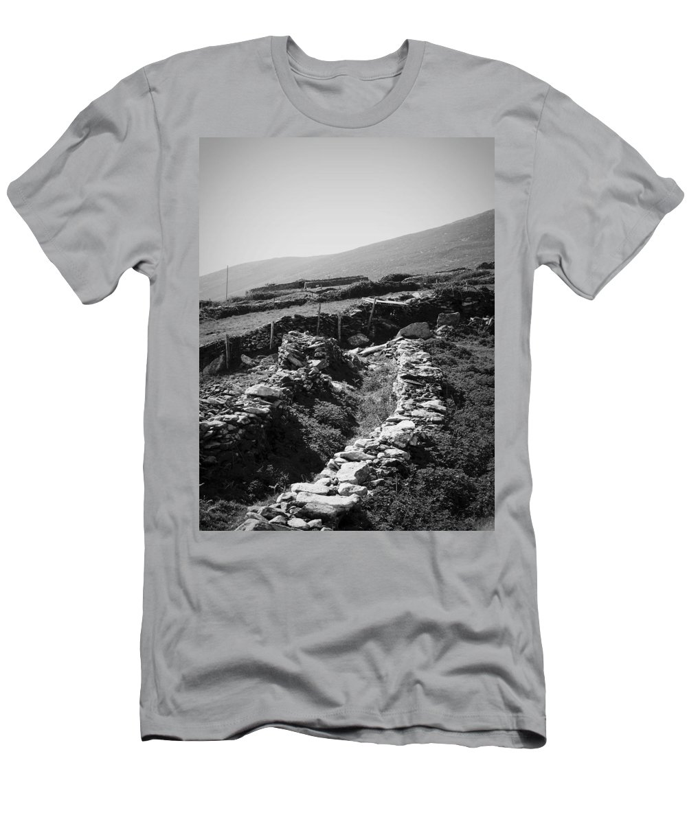 Irish Men's T-Shirt (Athletic Fit) featuring the photograph The Path To The Beehive Huts In Fahan Ireland by Teresa Mucha