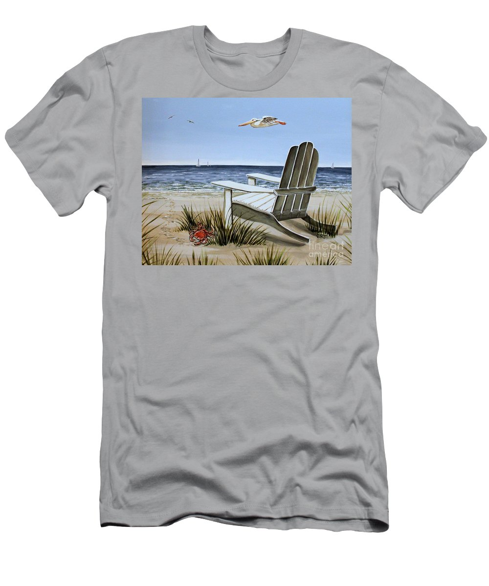 Landscape Men's T-Shirt (Athletic Fit) featuring the painting The Pelican by Elizabeth Robinette Tyndall