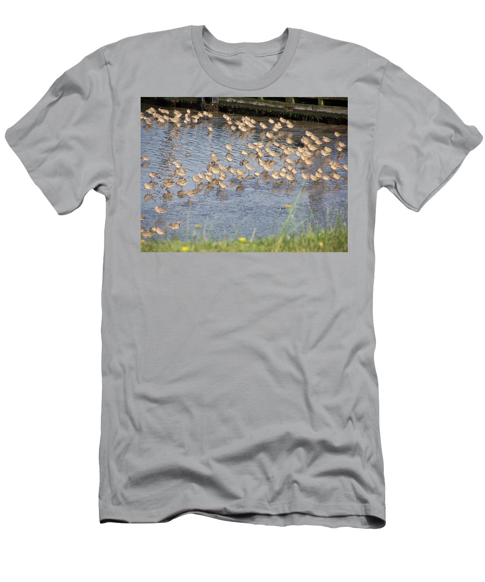 Seabirds Men's T-Shirt (Athletic Fit) featuring the photograph The Plovers by Laurie Kidd
