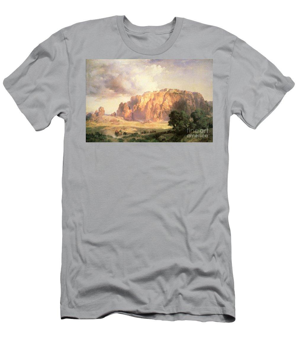 The Pueblo Of Acoma Men's T-Shirt (Athletic Fit) featuring the painting The Pueblo Of Acoma In New Mexico by Thomas Moran