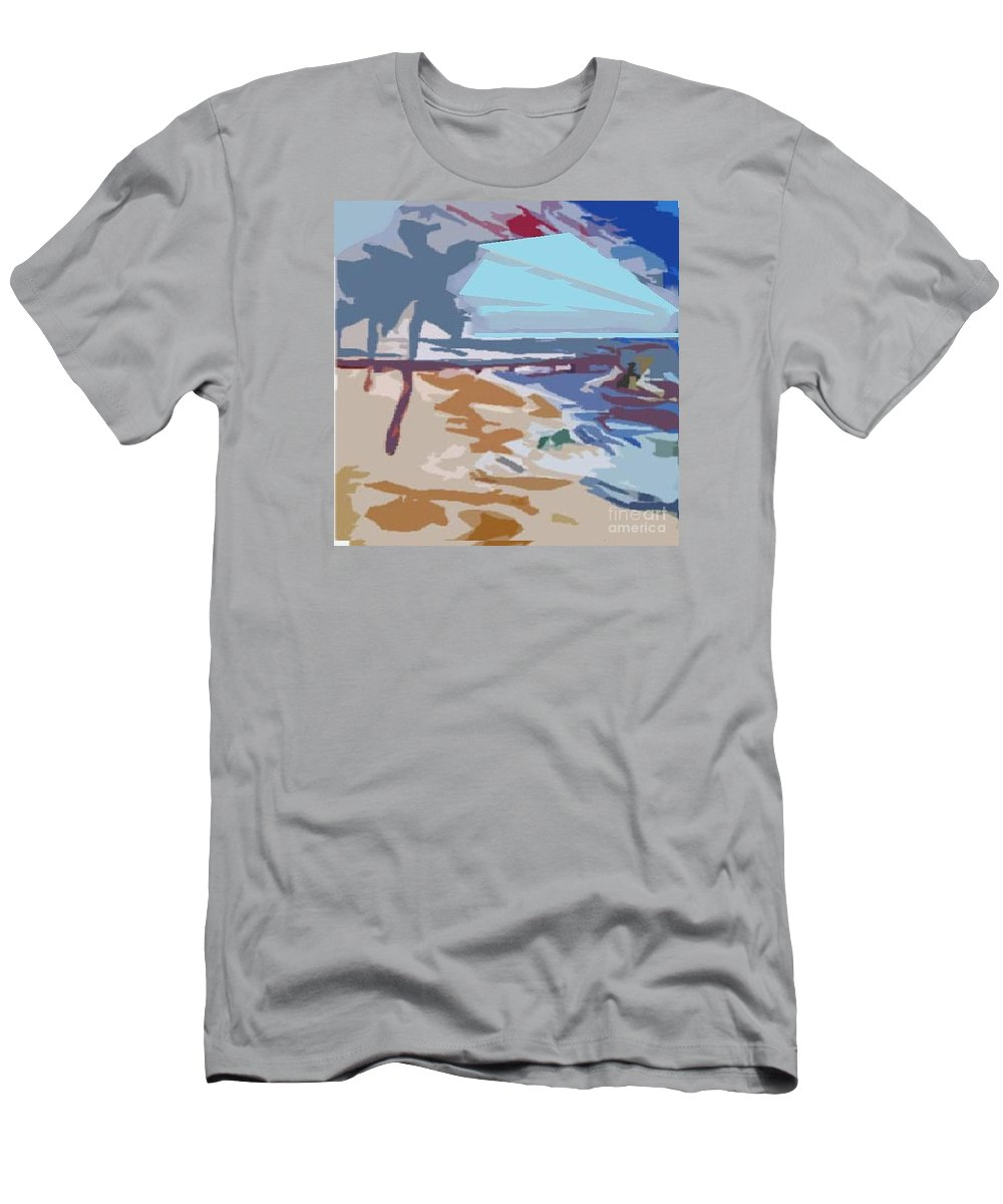 Quay Men's T-Shirt (Athletic Fit) featuring the painting The Quay-seaside by Ayyappa Das