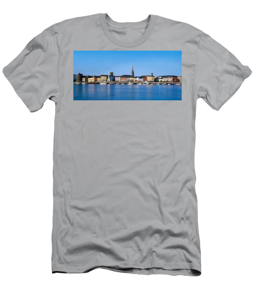 Blue Sky Men's T-Shirt (Athletic Fit) featuring the photograph The Quays, Wexford, County Wexford by The Irish Image Collection