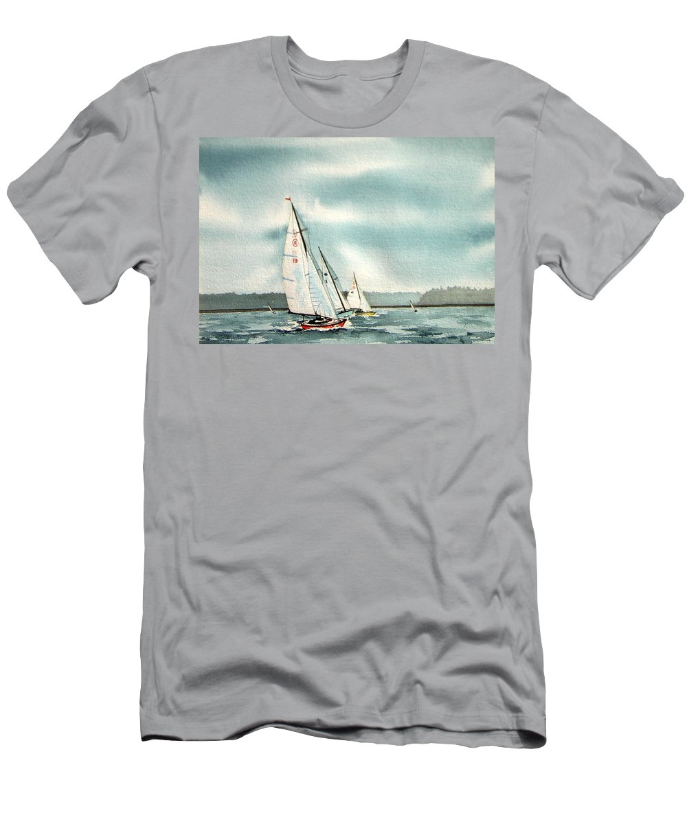 Sailing Men's T-Shirt (Athletic Fit) featuring the painting The Race by Gale Cochran-Smith