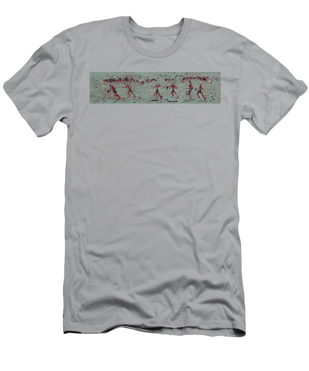 Abstract Art Men's T-Shirt (Athletic Fit) featuring the painting The Relay Race by J R Seymour