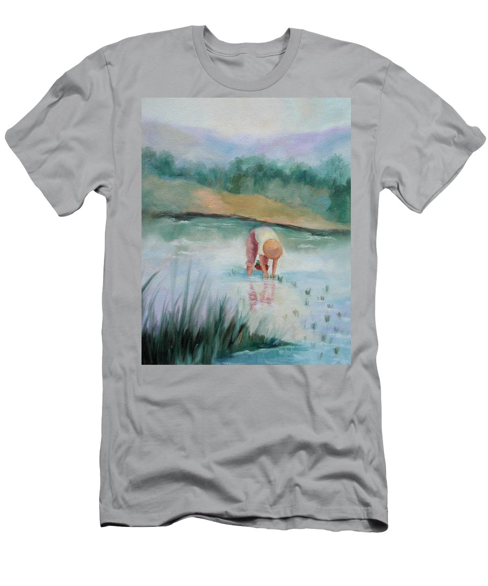 Figurative Men's T-Shirt (Athletic Fit) featuring the painting The Rice Planter by Ginger Concepcion