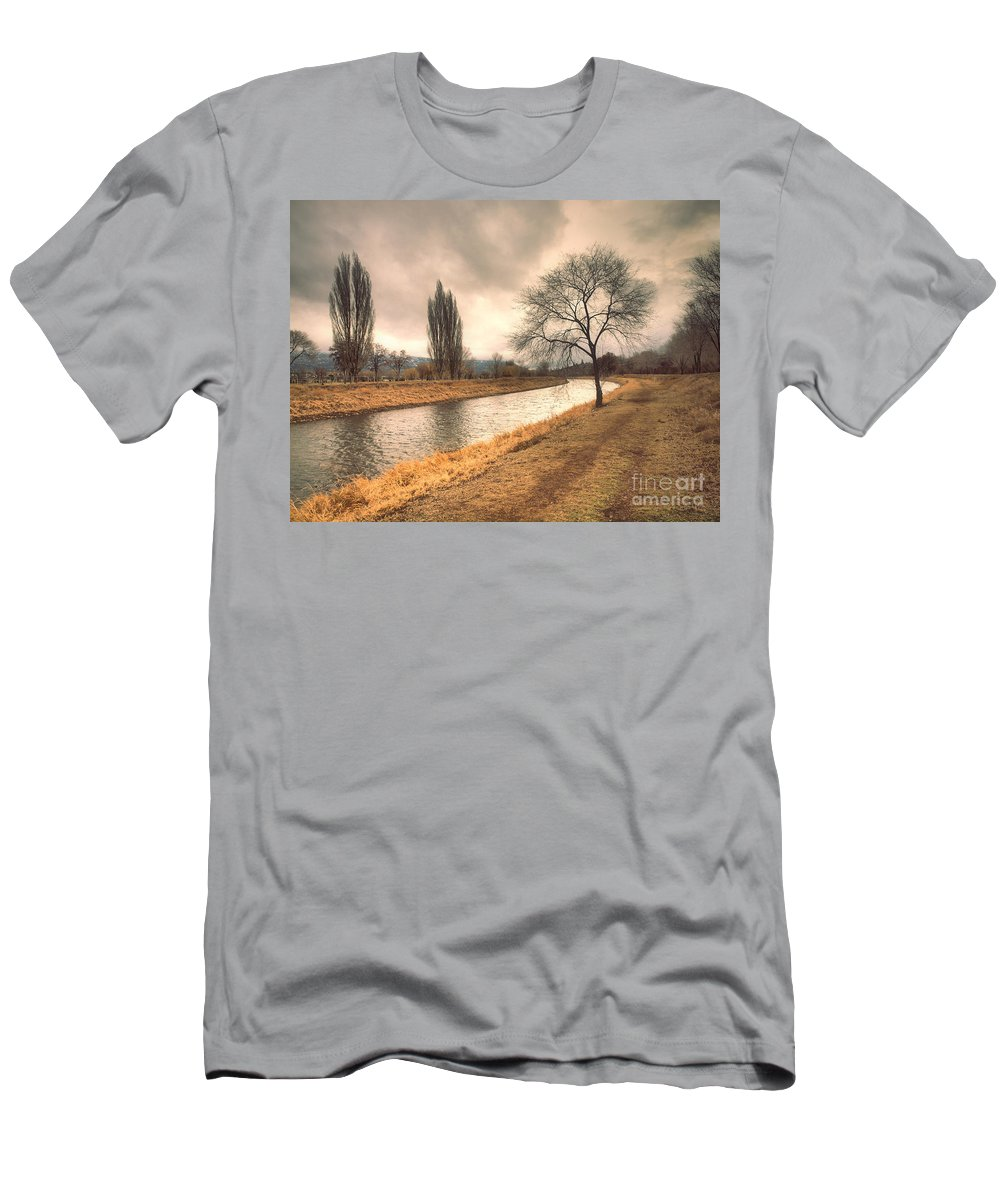 Channel Men's T-Shirt (Athletic Fit) featuring the photograph The River Channel In January by Tara Turner