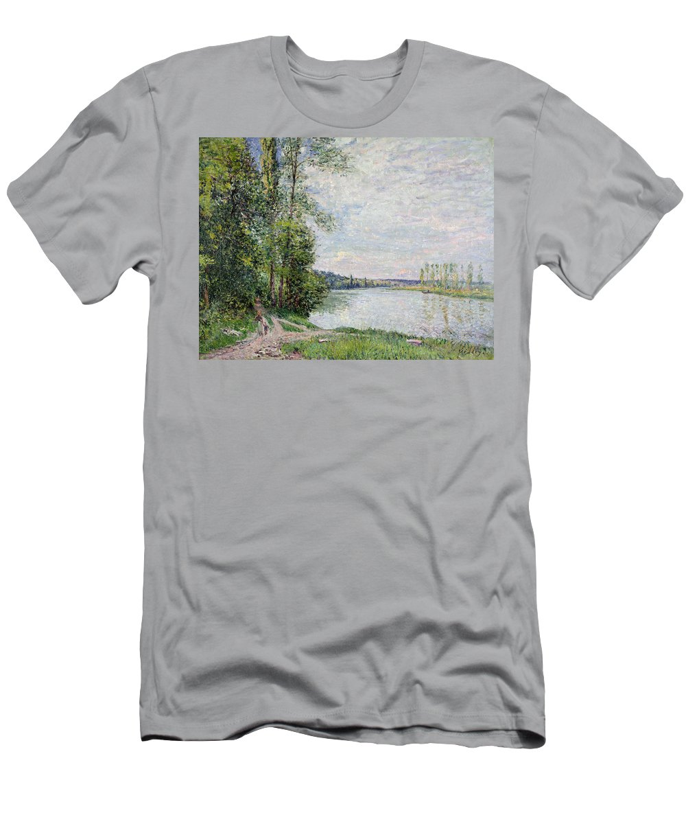 The Riverside Road From Veneux To Thomery Men's T-Shirt (Athletic Fit) featuring the painting The Riverside Road From Veneux To Thomery by Alfred Sisley
