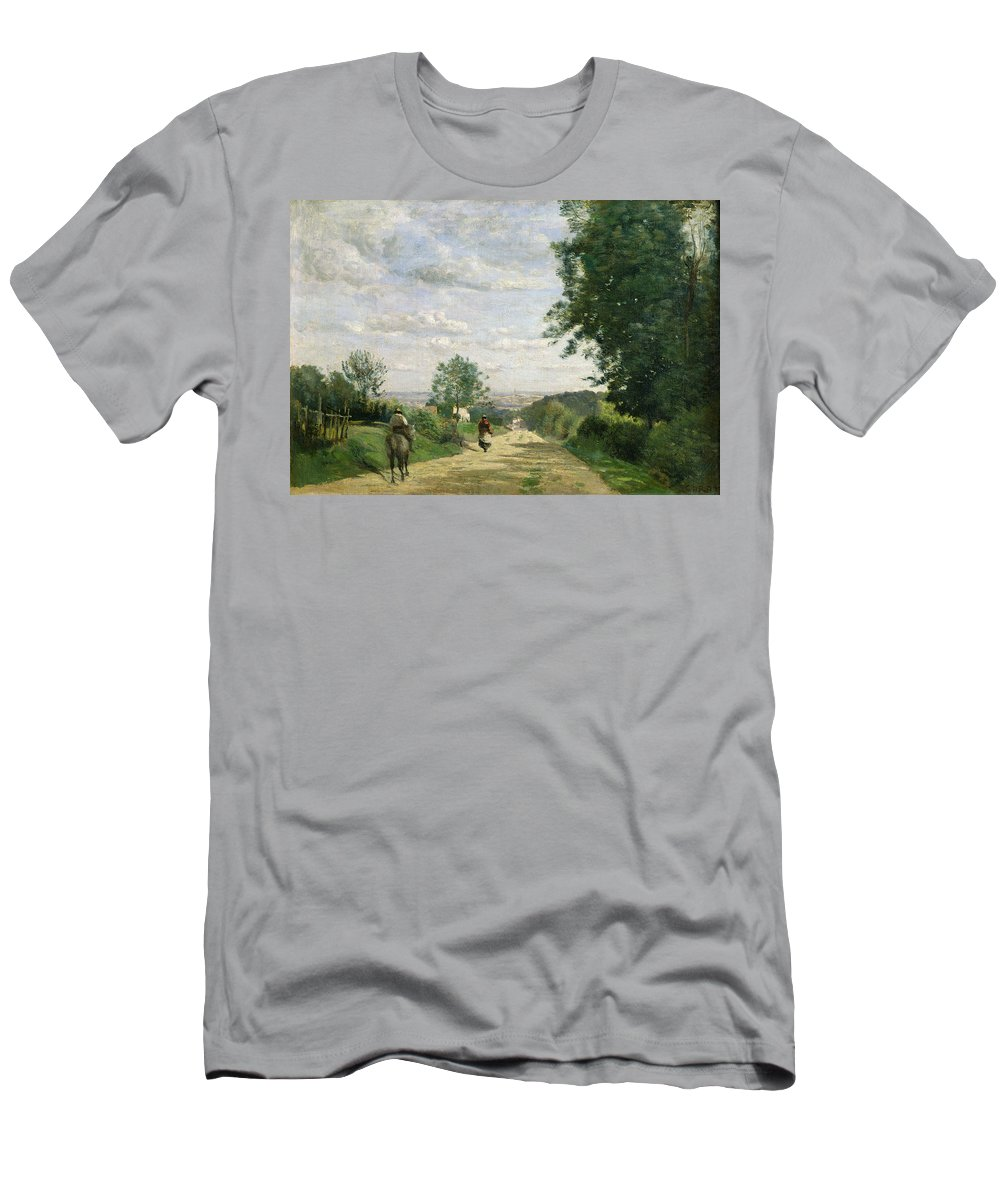 The Road To Sevres Men's T-Shirt (Athletic Fit) featuring the painting The Road To Sevres by Jean Baptiste Camille Corot