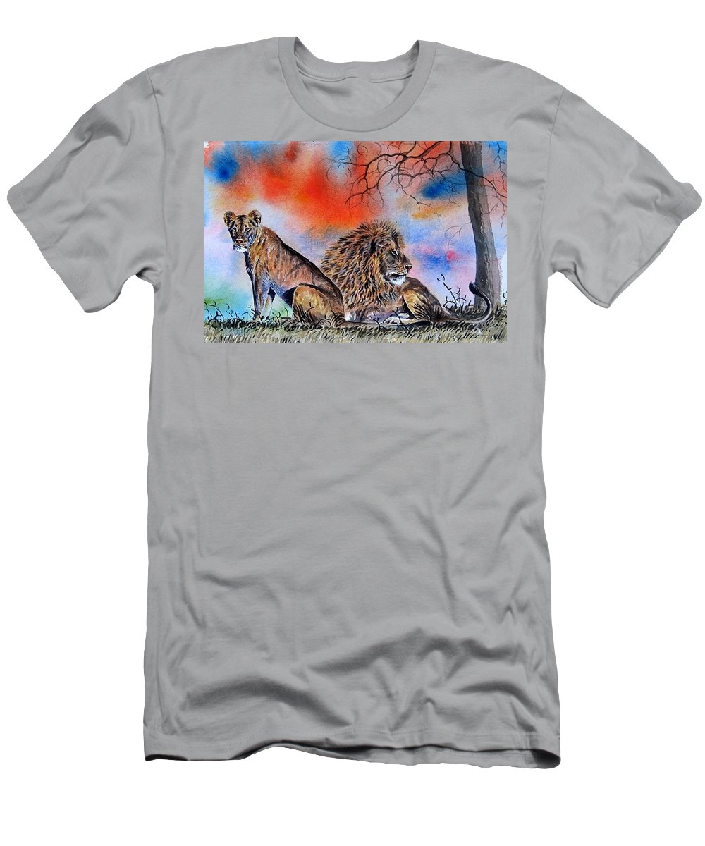 Lions Men's T-Shirt (Athletic Fit) featuring the painting The Royal Lions Of The Mara by William Mutua