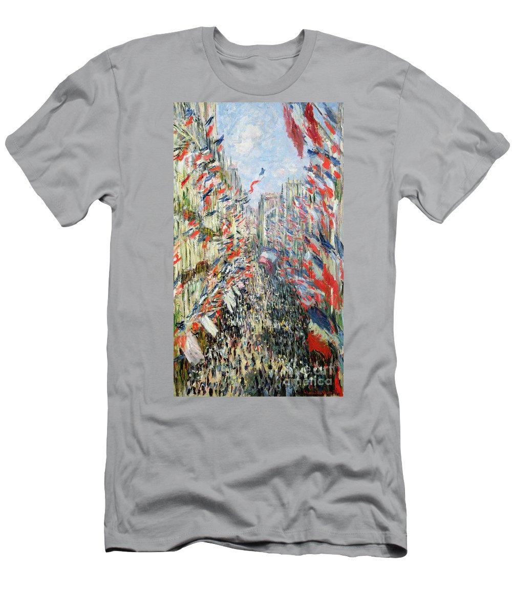 The Rue Montorgueil Men's T-Shirt (Athletic Fit) featuring the painting The Rue Montorgueil by Claude Monet