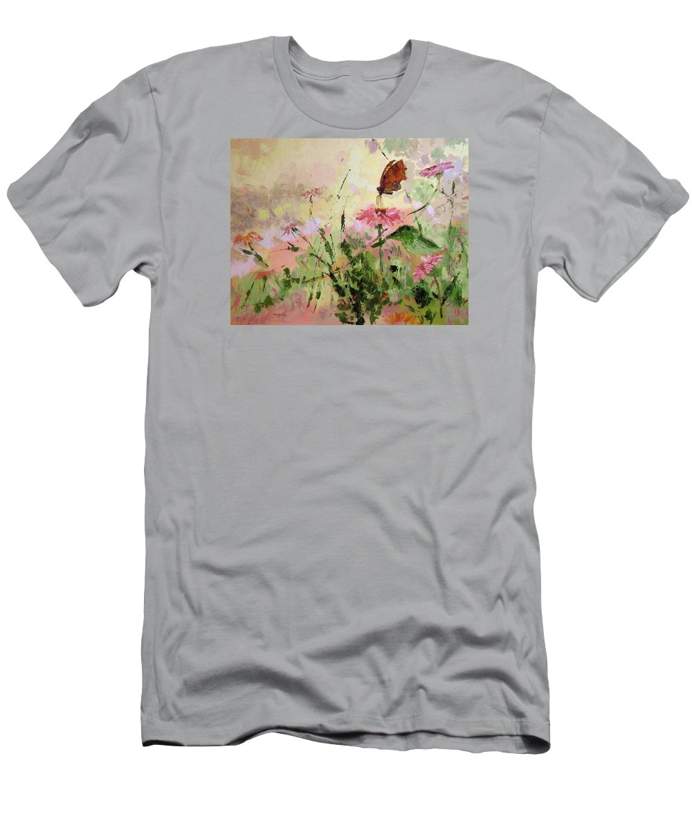 Butterflies Men's T-Shirt (Athletic Fit) featuring the painting The Seeker by Ginger Concepcion