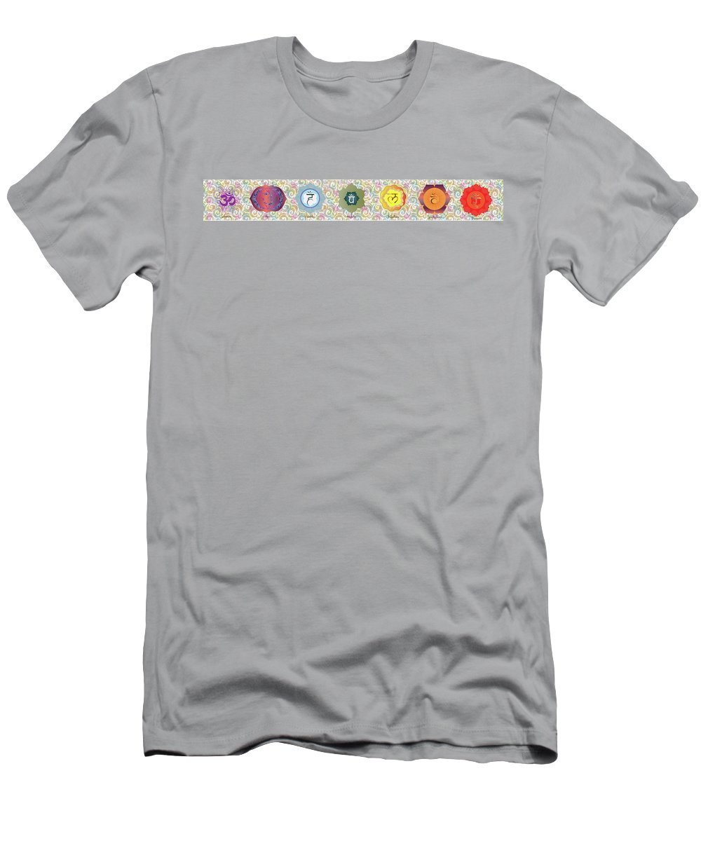 Yoga Men's T-Shirt (Athletic Fit) featuring the painting The Seven Chakras by Sandrine Durand