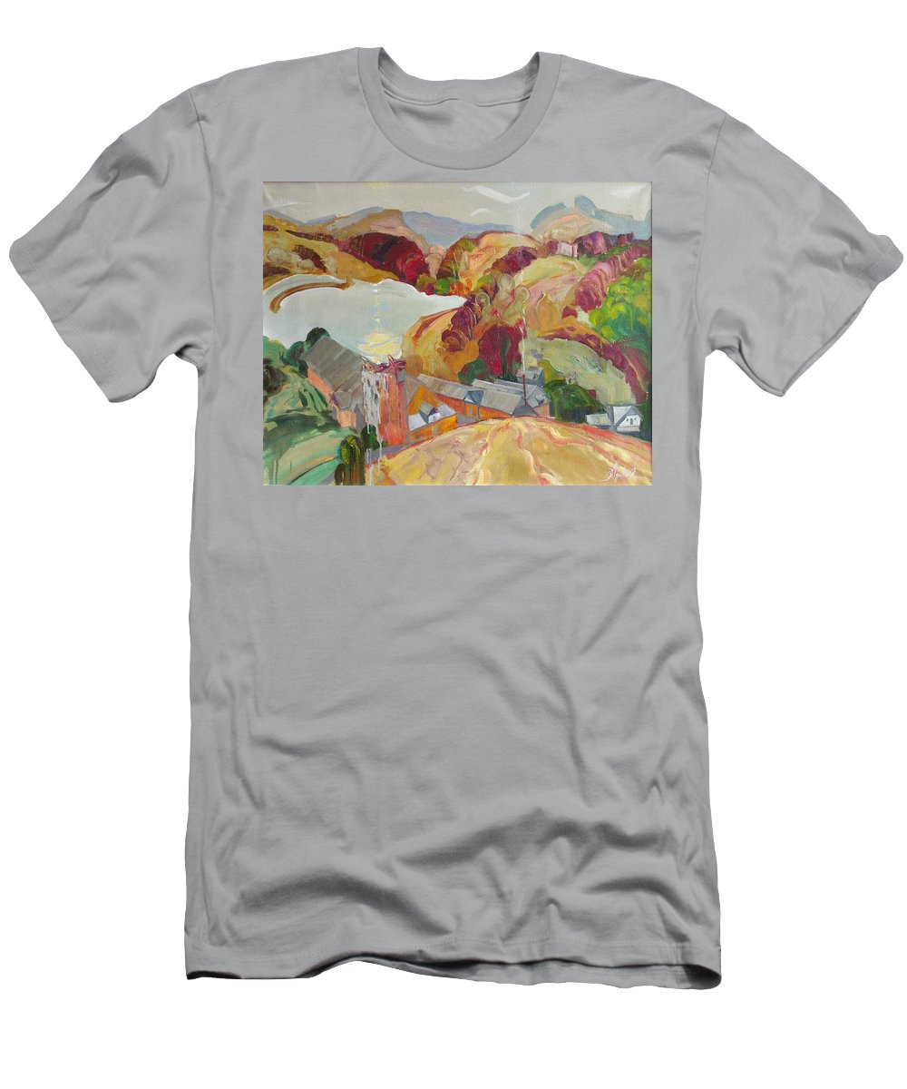Oil Men's T-Shirt (Athletic Fit) featuring the painting The Slovechansk Edge by Sergey Ignatenko